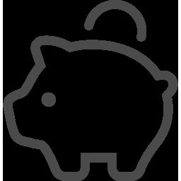ブタの貯金箱の線画アイコン